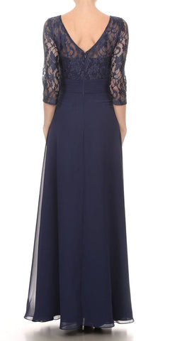 Navy Blue Mid-Length Sleeves Long Formal Dress V-Neck