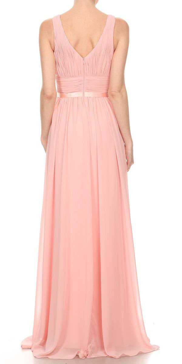 Long Chiffon Evening Gown A Line Ruched V Neckline Rhinestones Blush Back
