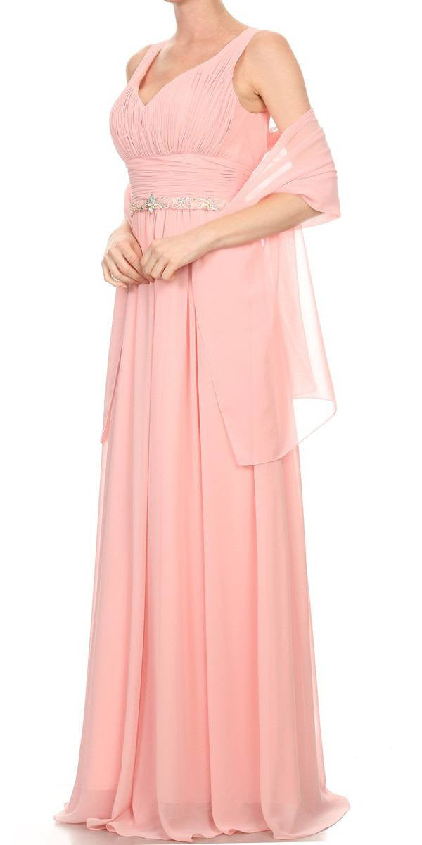 Long Chiffon Evening Gown A Line Ruched V Neckline Rhinestones Side