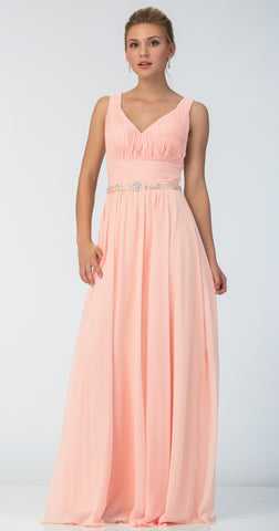 Long Chiffon Evening Gown A Line Ruched V Neckline Rhinestones Blush