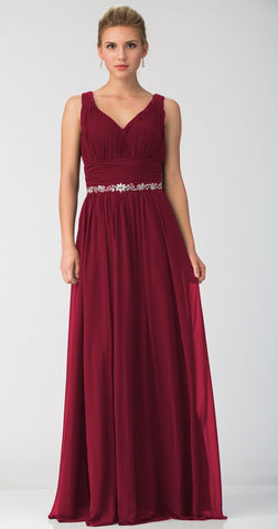 Long Chiffon Evening Gown A Line Ruched V Neckline Rhinestones Burgundy