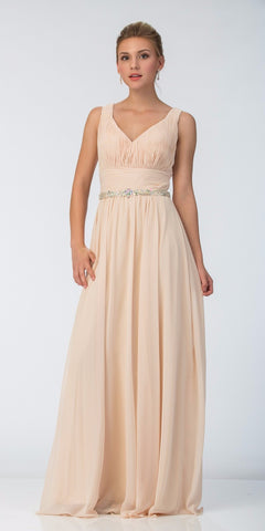 Long Chiffon Evening Gown A Line Ruched V Neckline Rhinestones Champagne