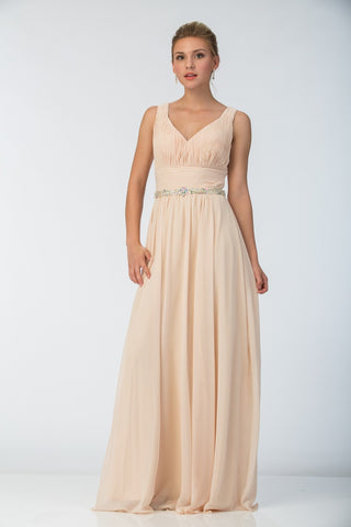 Starbox USA 6168 Long Chiffon Evening Gown A Line Ruched V Neckline Rhinestones Champagne