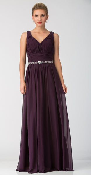 Starbox USA 6168 Long Chiffon Evening Gown A Line Ruched V Neckline Rhinestones Eggplant