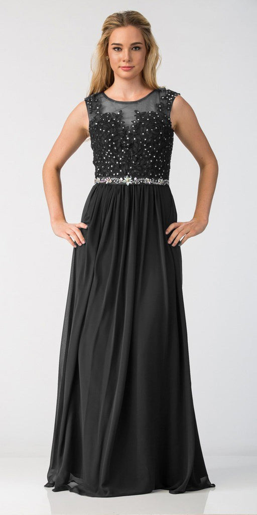 Black Evening Gown Illusion Neckline Appliqued Bodice