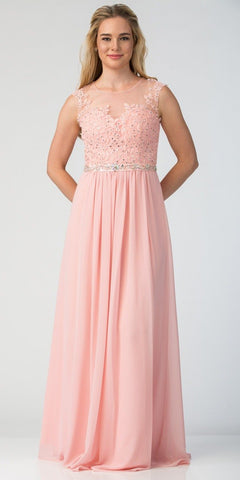 Blush Evening Gown Illusion Neckline Appliqued Bodice