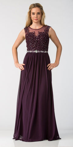 Eggplant Evening Gown Illusion Neckline Appliqued Bodice