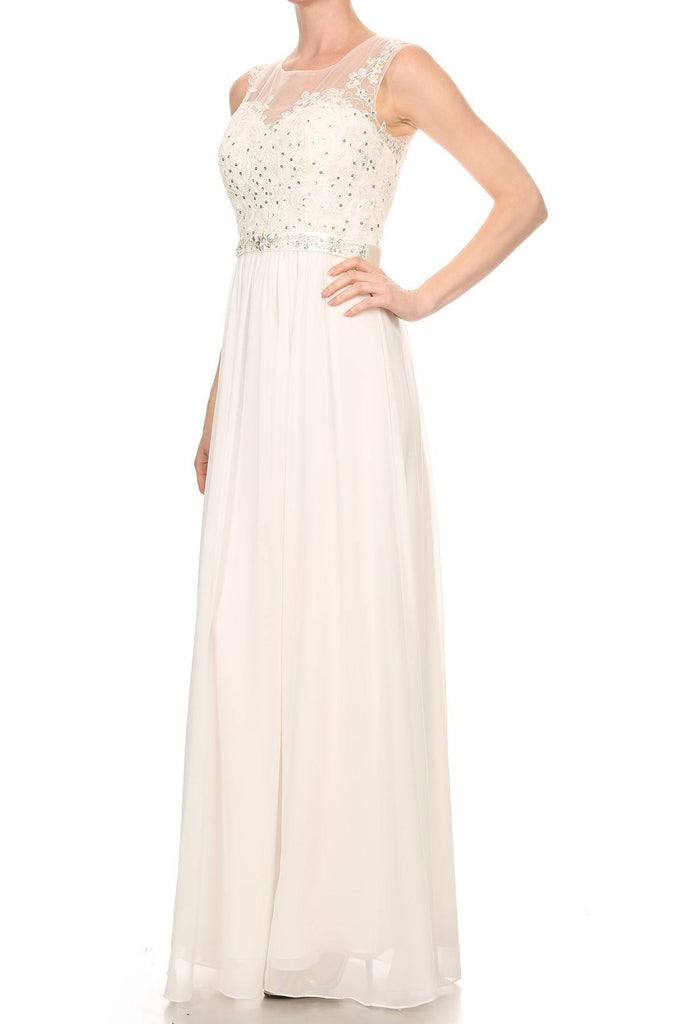 Off White Evening Gown Illusion Neckline Appliqued Bodice