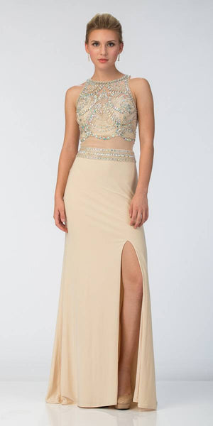 Starbox USA L6179 Mock Two-Piece Halter Prom Gown with Slit Champagne