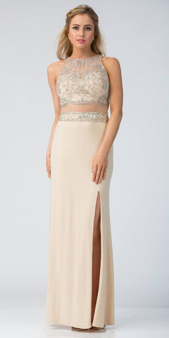 Starbox USA L6185 Beaded Crop Top Mock Two-Piece Prom Gown Champagne