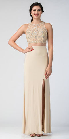 Starbox USA L6189 Mock Two-Piece Beaded Crop Top Evening Gown Champagne