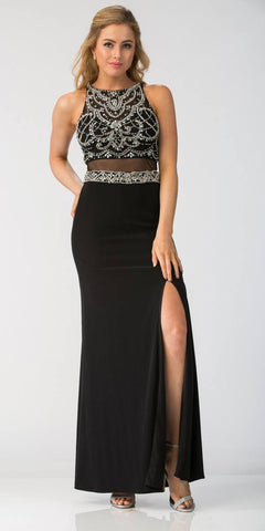 Starbox USA Beaded Crop Top Mock Two-Piece Prom Gown Black
