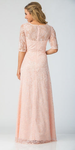 Starbox USA L6337 Blush Quarter Sleeves Long Formal Dress with Drape Back View