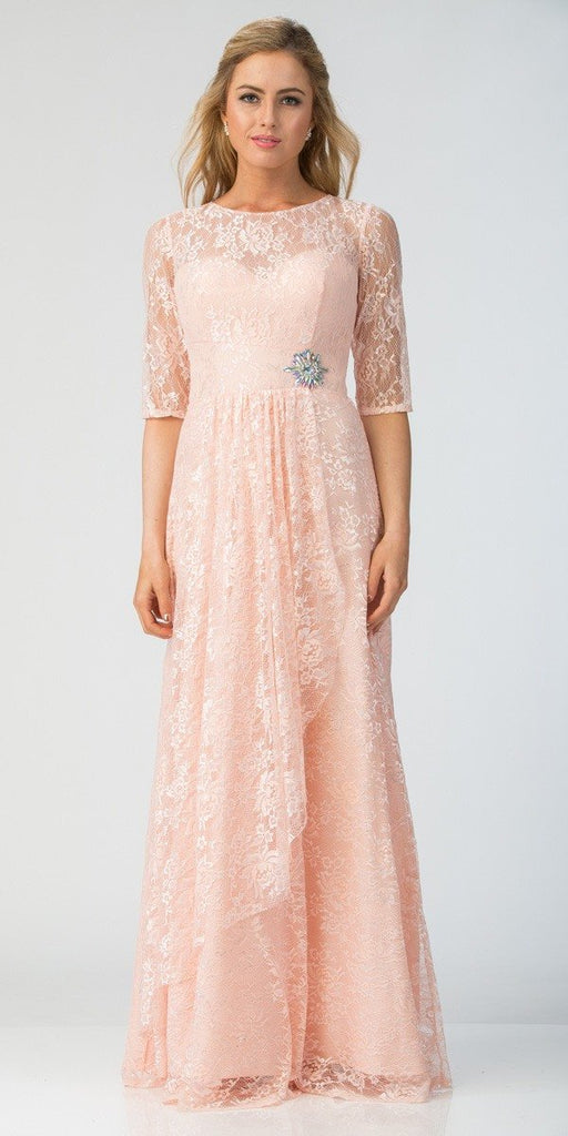 Starbox USA L6337 Blush Quarter Sleeves Long Formal Dress with Drape
