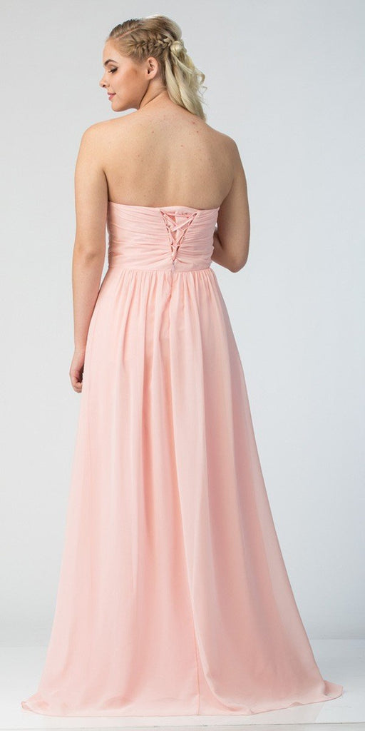 Starbox USA L6414 Blush Strapless Pleated Bodice Long Bridesmaids Dress A-Line