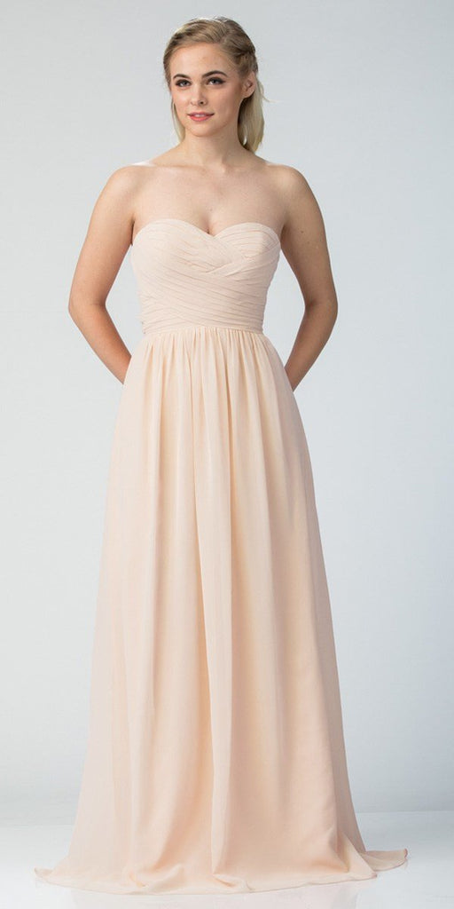 Starbox USA L6414 Champagne Strapless Pleated Bodice Long Bridesmaids Dress A-Line