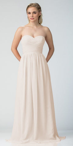 Starbox USA L6414 Off White Strapless Pleated Bodice Long Bridesmaids Dress A-Line