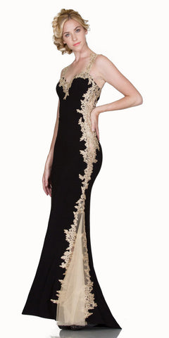 L6419 - Sheath Mermaid Silhouette Gown Black Gold Floor Length Lace Trim