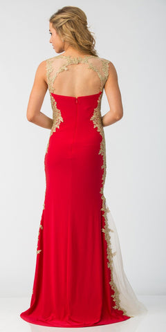 L6419 - Sheath Mermaid Silhouette Gown Black Red Floor Length Lace Trim
