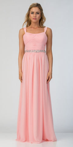 Starbox USA L6423 Blush Embellished Waist Ruched Long Formal Dress