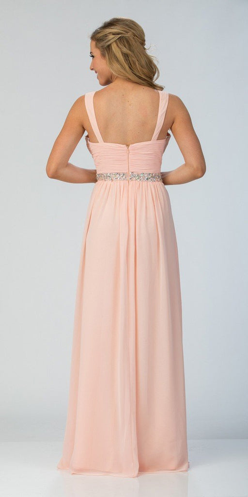 Starbox USA L6423 Champagne Embellished Waist Ruched Long Formal Dress Back View