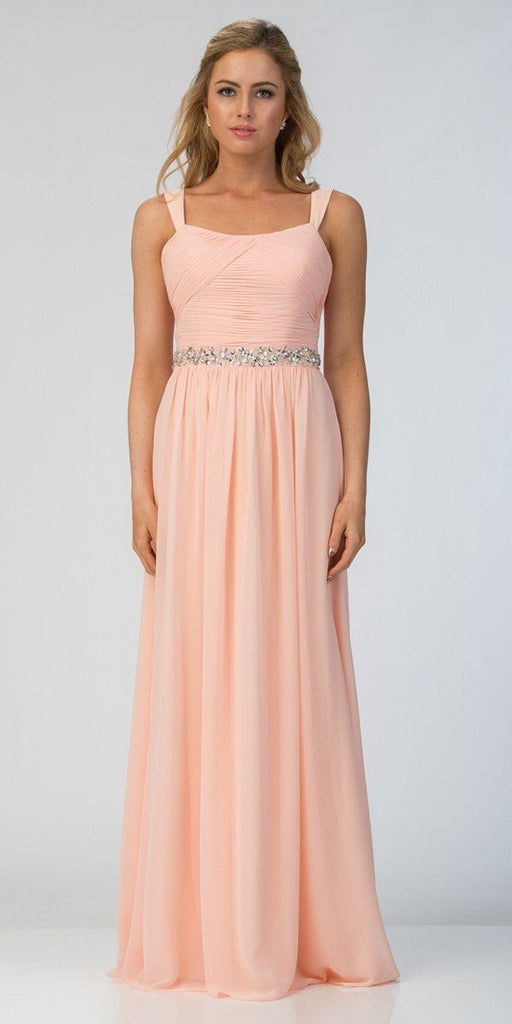 Starbox USA L6423 Champagne Embellished Waist Ruched Long Formal Dress