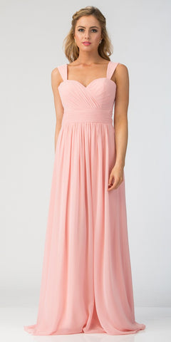 Starbox USA L6427 Pleated Sweetheart Neck Long Bridesmaids Dress Blush