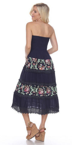 Strapless Shirred Bodice Casual Dress Navy Blue