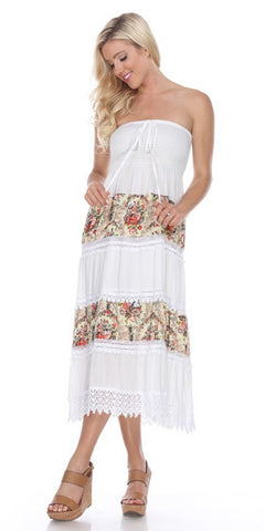 Strapless Shirred Bodice Casual Dress White