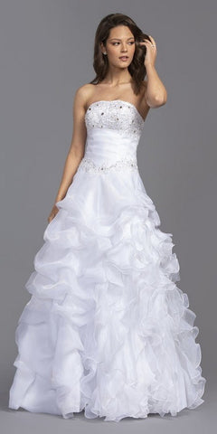 White Ruffled Long Wedding Dress Strapless