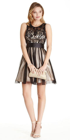 Aspeed LH056 Short Black/Nude Homecoming Dress Lace Bodice