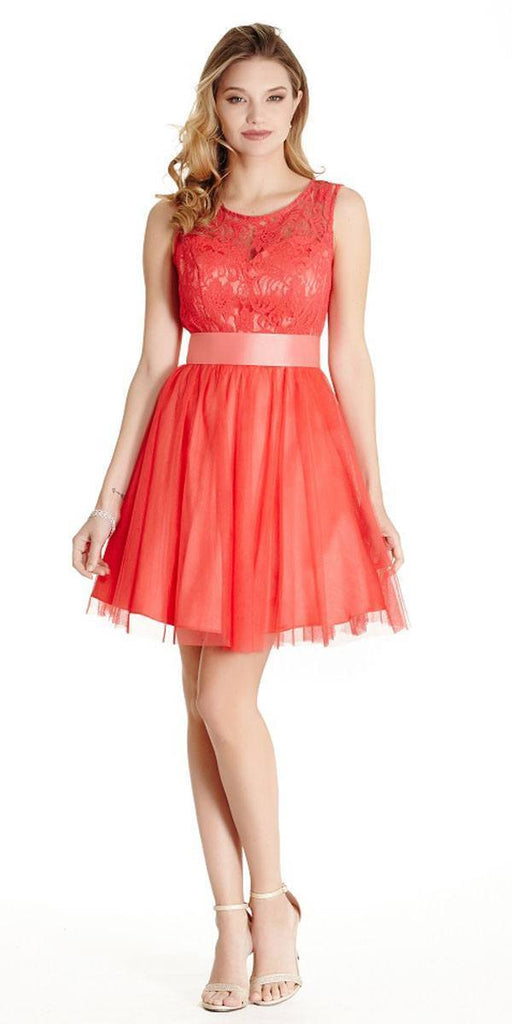 Aspeed LH056 Short Watermelon Homecoming Dress Lace Bodice