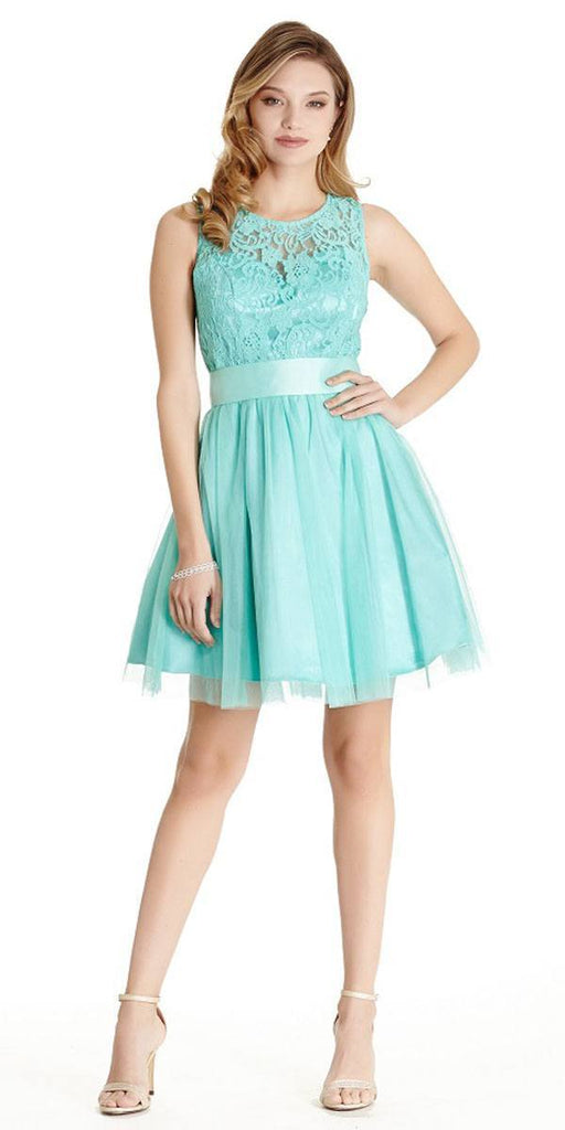 Aspeed LH056 Short Jade Homecoming Dress Lace Bodice
