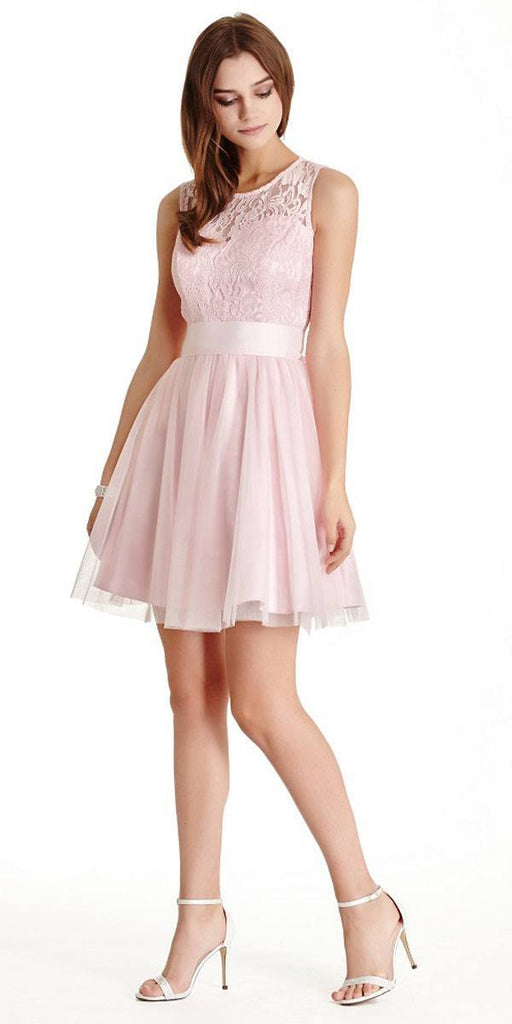 Aspeed LH056 Short Pink Homecoming Dress Lace Bodice