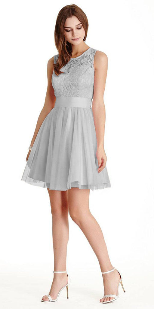Aspeed LH056 Short Silver Homecoming Dress Lace Bodice
