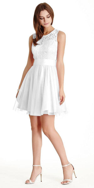 Aspeed LH056 Short White Homecoming Dress Lace Bodice