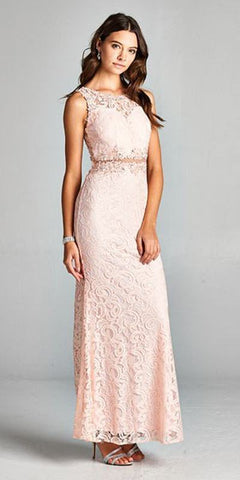 Blush Sleeveless Long Formal Dress with Sheer Midriff