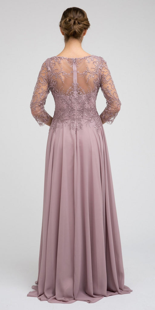 Appliqued Long Formal Dress Mauve with Quarter Sleeves