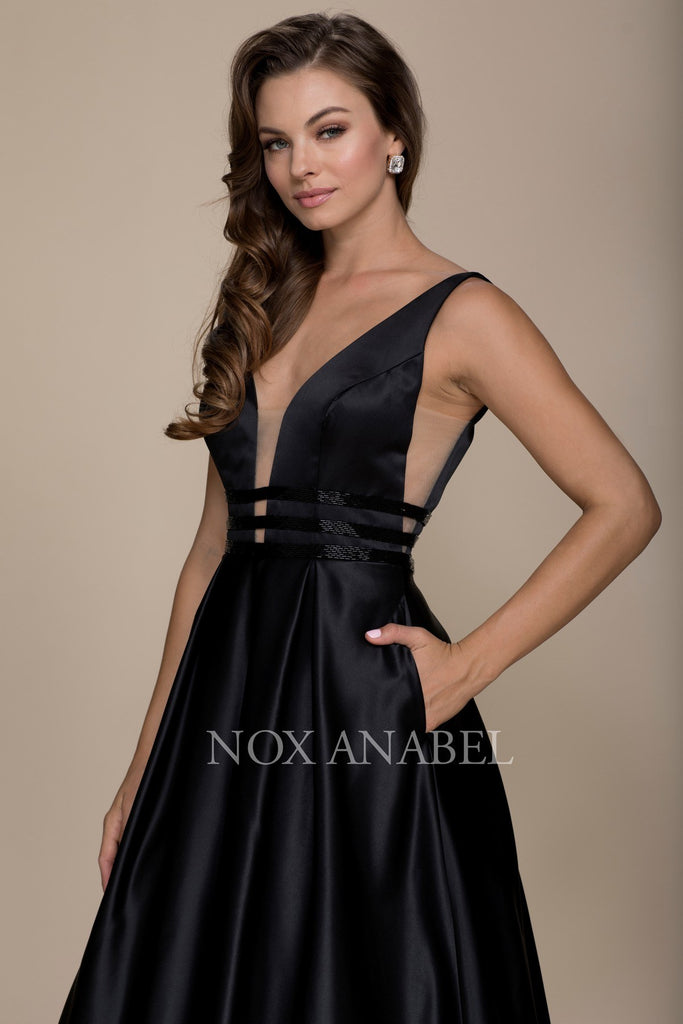 Black V-Neck Long Prom Dress Sheer Cut Out with Pockets