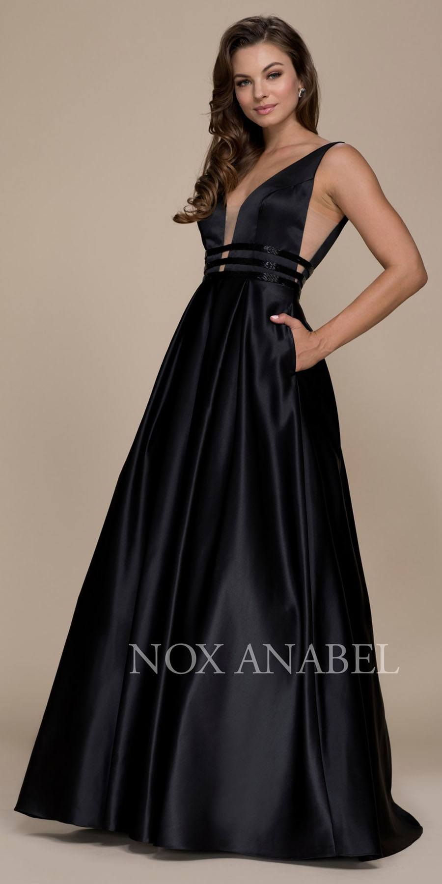0029361bfb Black V-Neck Long Prom Dress Sheer Cut Out with Pockets. Tap to expand