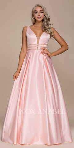 Blush V-Neck Long Prom Dress Sheer Cut Out with Pockets