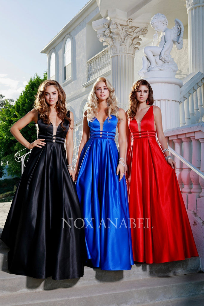 Royal Blue V-Neck Long Prom Dress Sheer Cut Out with Pockets