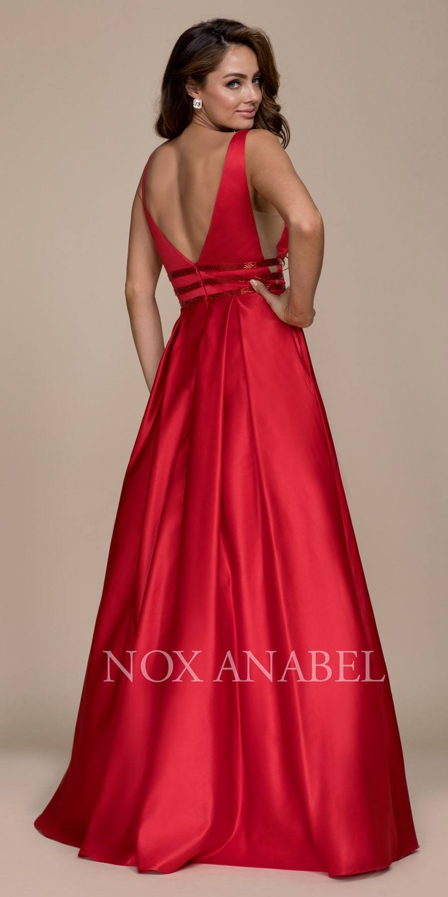 70f2aa362b1 Nox Anabel M130 Red V-Neck Long Prom Dress Sheer Cut Out with ...