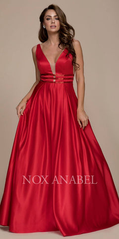 Red V-Neck Long Prom Dress Sheer Cut Out with Pockets