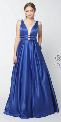 Nox Anabel M130 Royal Blue V-Neck Long Prom Dress Sheer Cut Out with Pockets
