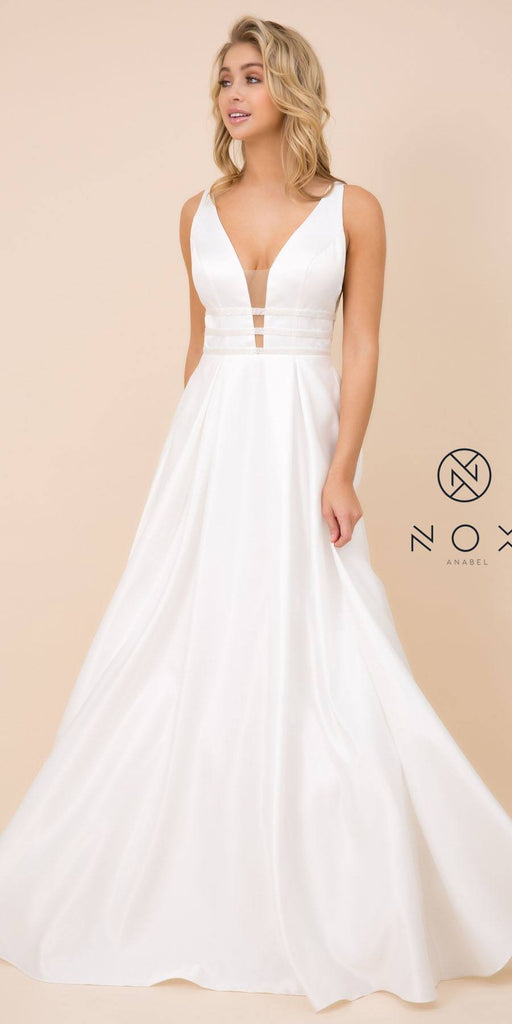 Nox Anabel M130 Long V-Neck Off White Satin Dress Pockets Sleeveless