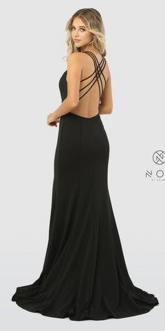 Strappy Back Long Black Prom Dress with Slit