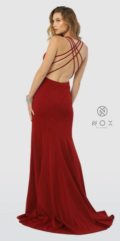 Strappy Back Long Burgundy Prom Dress with Slit