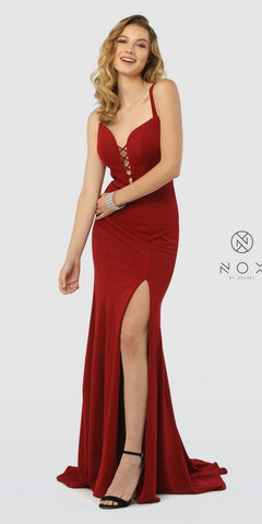 Strappy Back Floor-Length Burgundy Prom Dress with Slit