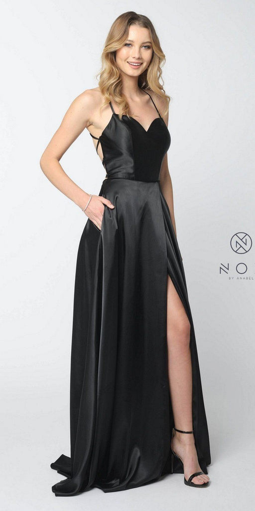 Black Long Prom Dress Corset Open-Back with Pockets and Slit